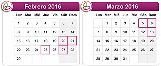 Calendario mes de febrero y marzo de 2016 con las fechas de las 7 actividades freelazzum marcadas: 20, 21, 25 y 27 de febrero. 5, 6 y 13 de marzo.